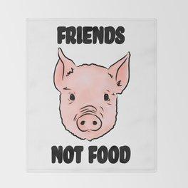 Cute Pig Vegan Friends Not Food Illustration Throw Blanket
