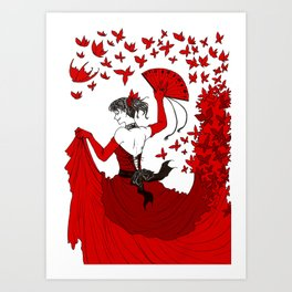 Red Butterfly Witch Art Print