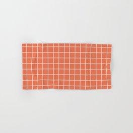 Burnt sienna - pink color - White Lines Grid Pattern Hand & Bath Towel
