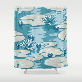 Monets Waterlily Pattern — Teal Shower Curtain