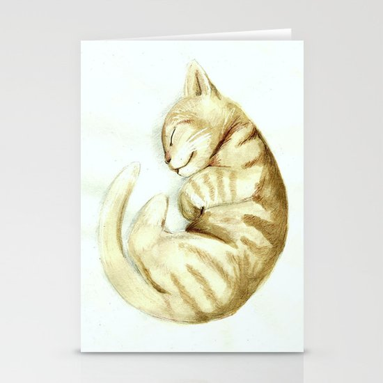 Sleeping kitty Stationery Cards