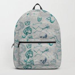 Teal Skull Pattern Backpack