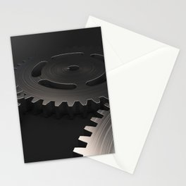 Set of metal gears and cogs on black Stationery Cards