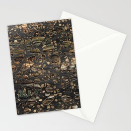 Terrazzo - Mosaic - Wooden texture and gold #5 Stationery Cards