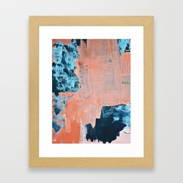 Delight [3]: a vibrant minimal abstract painting in blue and coral by Alyssa Hamilton Art Framed Art Print