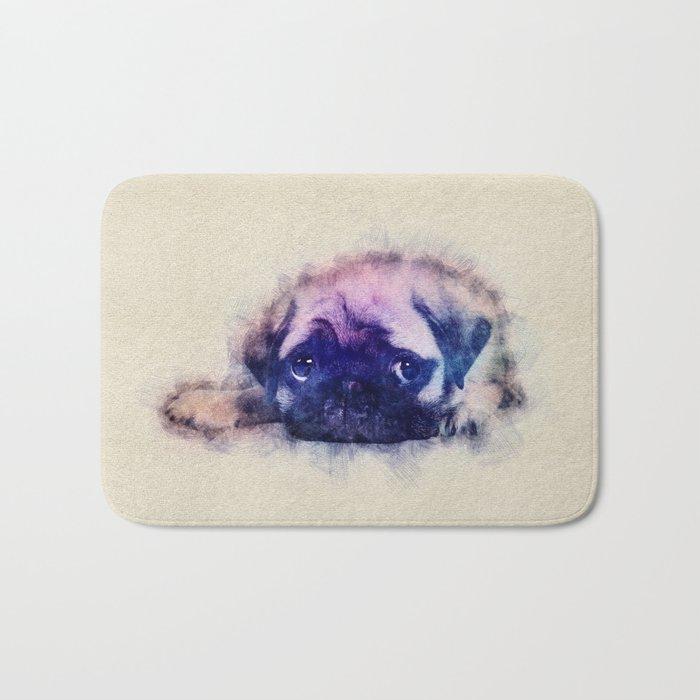 Pug puppy Sketch  Digital Art Bath Mat