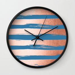 Trendy Stripes Sweet Peach Coral Pink + Saltwater Taffy Teal Wall Clock