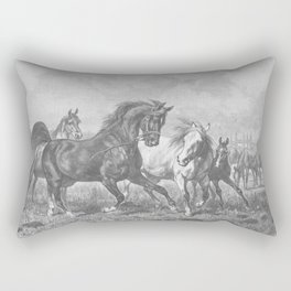 HORSES black & white illustration  Rectangular Pillow
