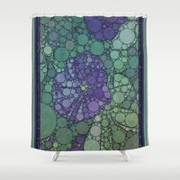 potato Shower Curtains featuring Percolated Purple Potato Flower by Charma Rose