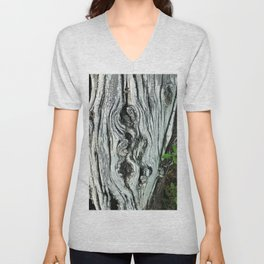 Exquisite Tree Trunk and Leaves Fine Art Photo Unisex V-Neck