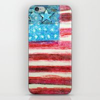 american flag iPhone & iPod Skins featuring American Flag by Brontosaurus
