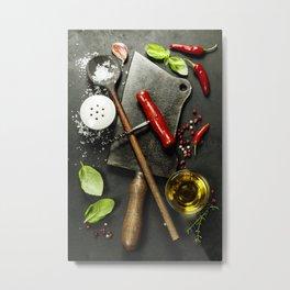 Vintage cutlery and fresh ingredients on dark background Metal Print