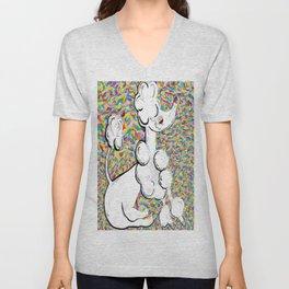 White Poodle Unisex V-Neck
