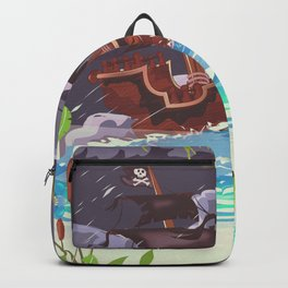 Pirate ship in a storm Backpack