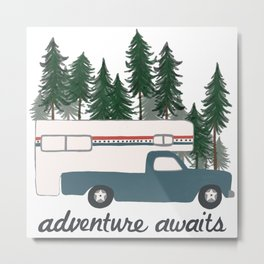 Adventure Awaits Truck Camper RV Camping Patriotic Forest Metal Print