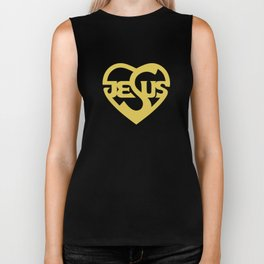 Biblical typography. Christian symbols. Jesus heart. Biker Tank