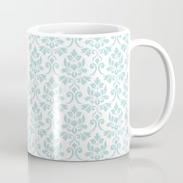 Feuille Damask Pattern Duck Egg Blue on White Coffee Mug