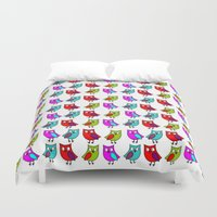 owls Duvet Covers featuring Owls by BlackBlizzard
