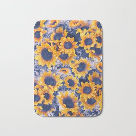 Sunflowers Blue Bath Mat