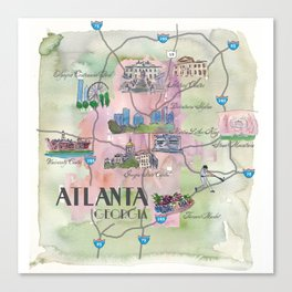 Atlanta Favorite Map with touristic Top Ten Highlights in Colorful Retro Style Canvas Print