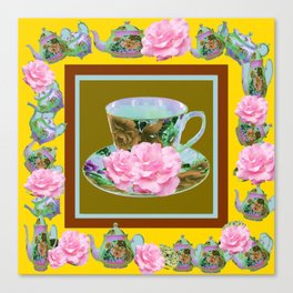 YELLOW ANTIQUE BLUE PORCELAIN TEA SET & PINK ROSES Canvas Print