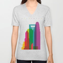 Shapes of Charlotte accurate to scale Unisex V-Neck