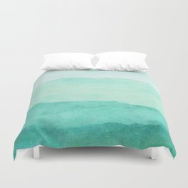 Ombre Waves in Teal Duvet Cover
