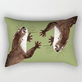 Asian small-clawed otter Green Rectangular Pillow
