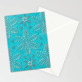 DP044-11 Silver snowflakes on turquoise Stationery Cards