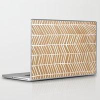herringbone Laptop & iPad Skins featuring Kraft Herringbone by Cat Coquillette