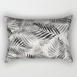 Palm Leaves - Black & White Rectangular Pillow