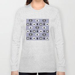daisy and heart all over print - monochrome Long Sleeve T-shirt