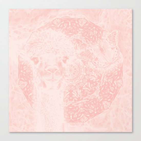 Ghostly alpaca and butterfly with mandala in Rose Quartz Canvas Print