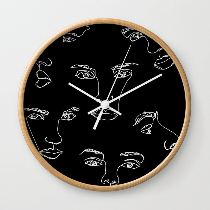 Faces one line illustration - Cyra Wall Clock