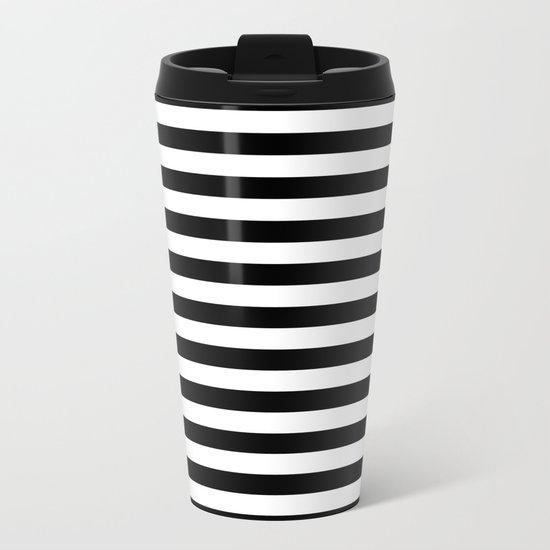 Black White Stripes Metal Travel Mug