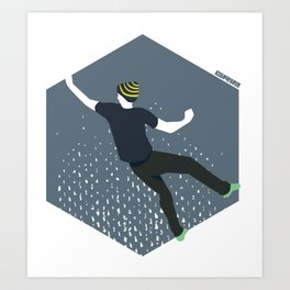 bouldering man Art Print