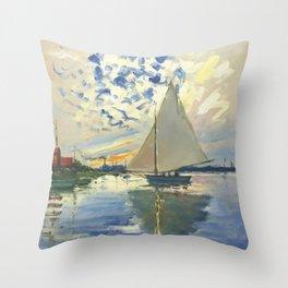 Sailboat Le-Petit-Gennevilliers Claude Monet Fine Art Throw Pillow