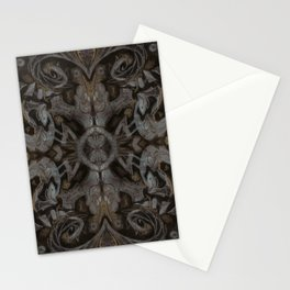 Curves & lotuses, abstract floral pattern, charcoal black, dark brown and taupe Stationery Cards