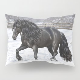 Friesian Horse Trotting In Snow Pillow Sham