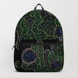 Blooming Cactus, Black and Neon Backpack
