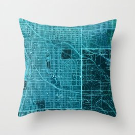 Englewood old map, year 1940, blue artwork Throw Pillow