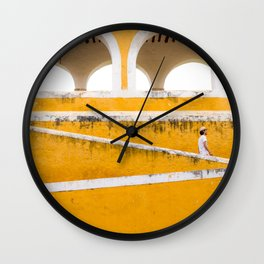 Colonial Mexico, Izamal in Yellow #buyart #society6 #decor Wall Clock