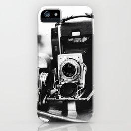 Classic Kodak camera | Photography market in Florence, Italy | Tuscany travel photography, black and white art print iPhone Case