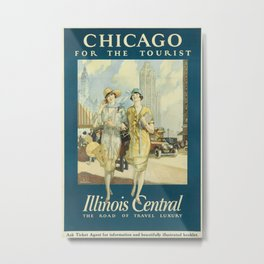 Chicago for the tourist Vintage Travel Poster Metal Print