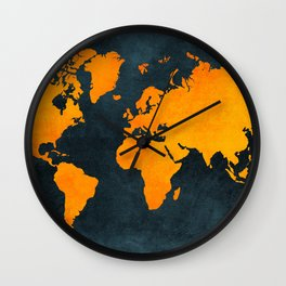 Map of the World - Inverted Bright Rust Wall Clock