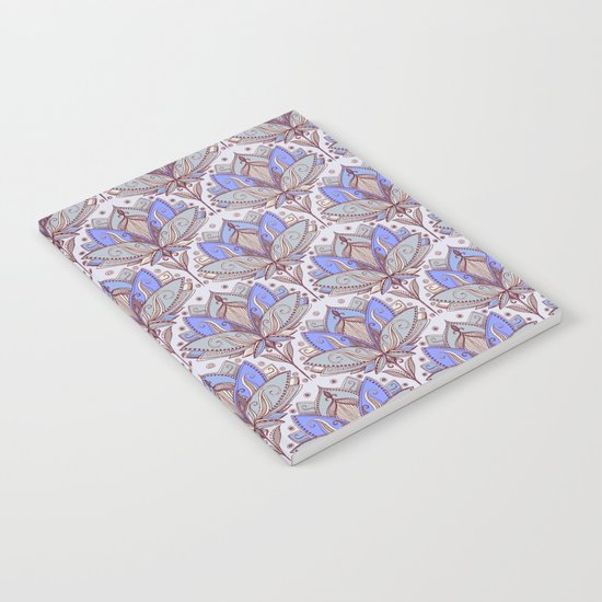 Art Deco Lotus Rising 2 - sage grey & purple pattern Notebook