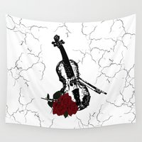 violin Wall Tapestries featuring The Violin by Leatherwood Design