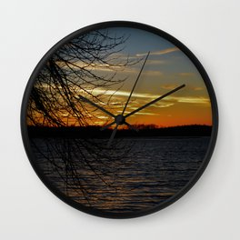 Sunset on the River. Wall Clock
