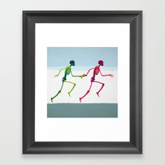 running sketeton with banana Framed Art Print
