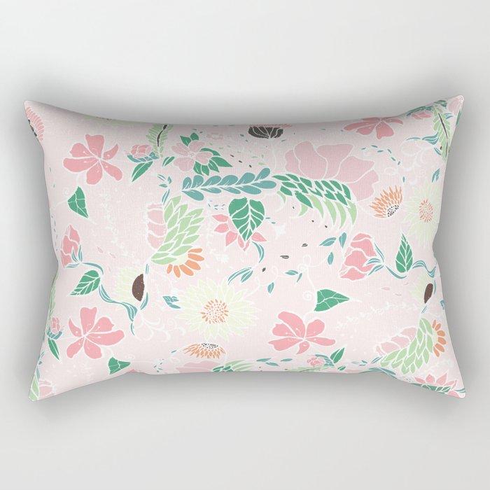 Modern pastel floral handdrawn blush pink illustration Rectangular Pillow